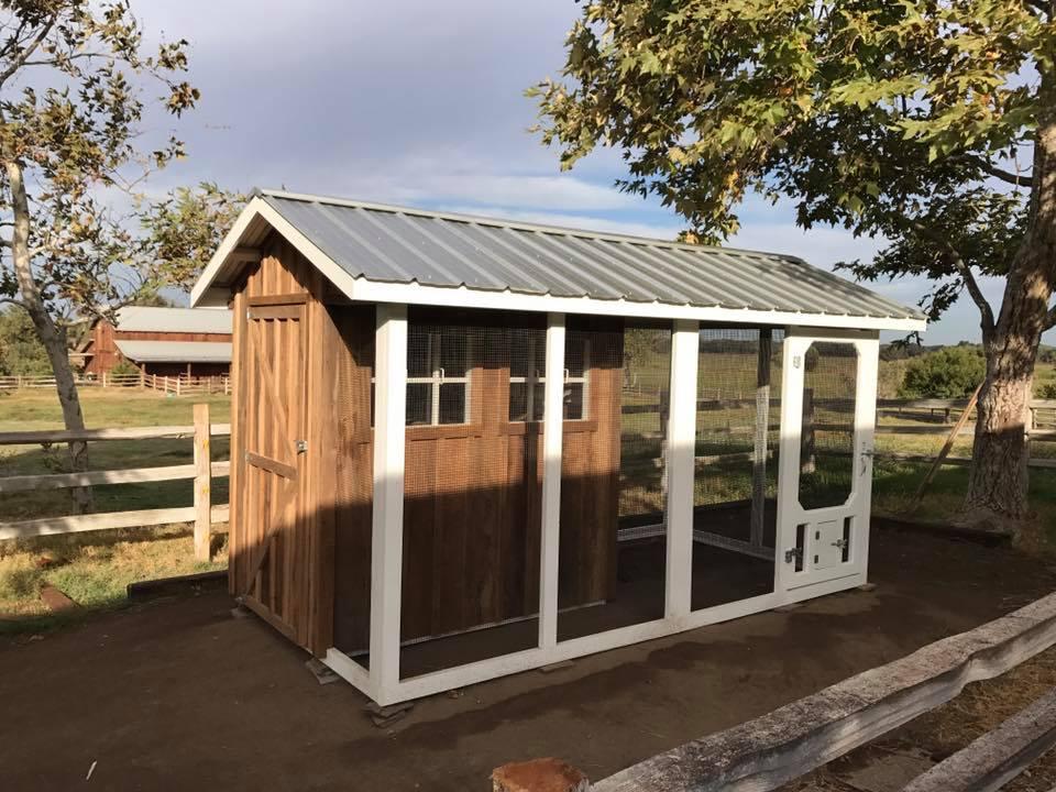 Reclaimed barn wood custom coop in California
