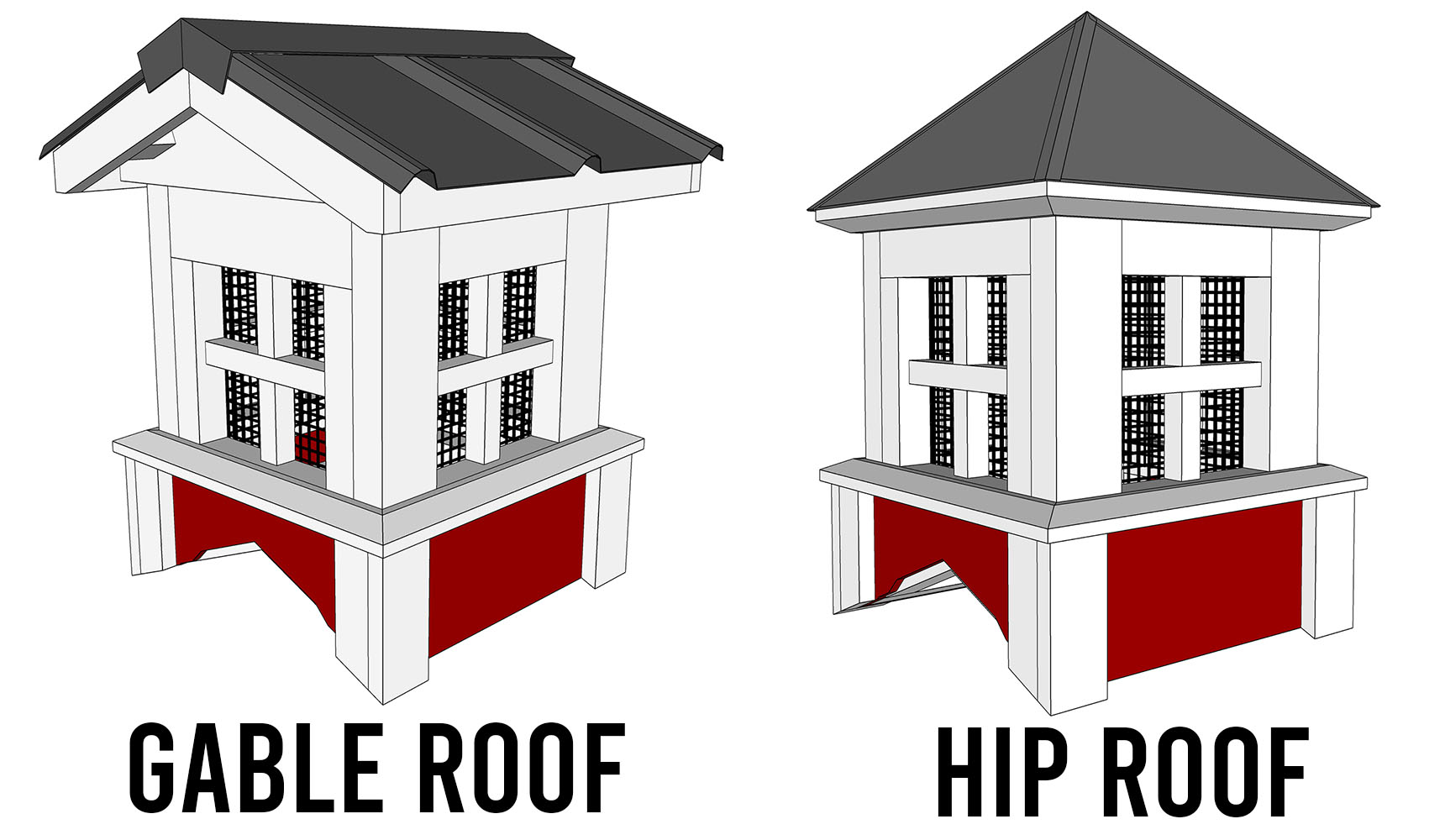 GABLE ROOF VS HIP ROOF CUPOLA