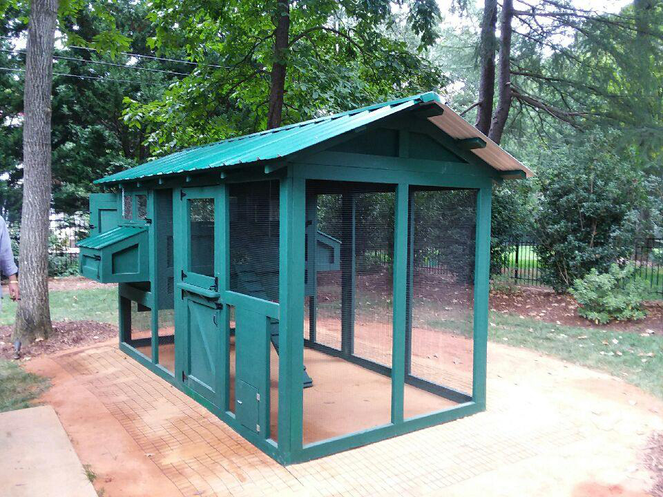 6′ x 12′ American Coop with 4′ x 6′ henhouse painted to blend in