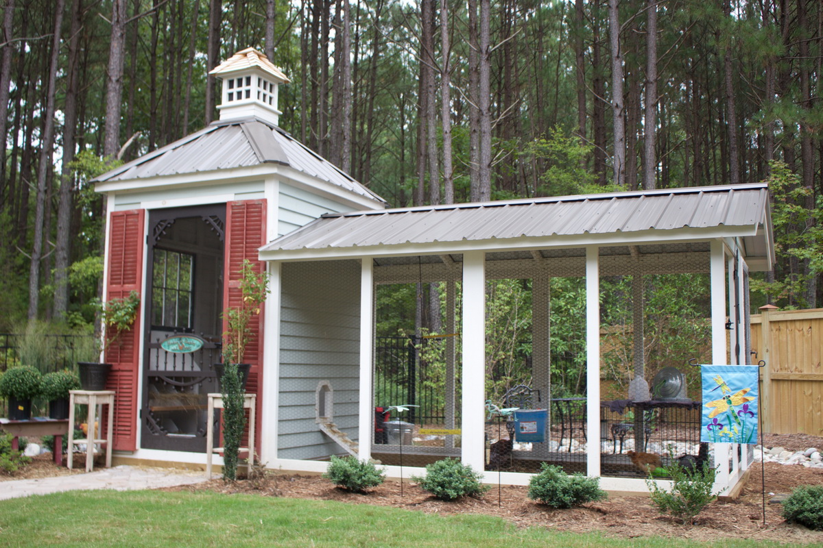 French style custom coop with handmade functional cupola in Durham, NC