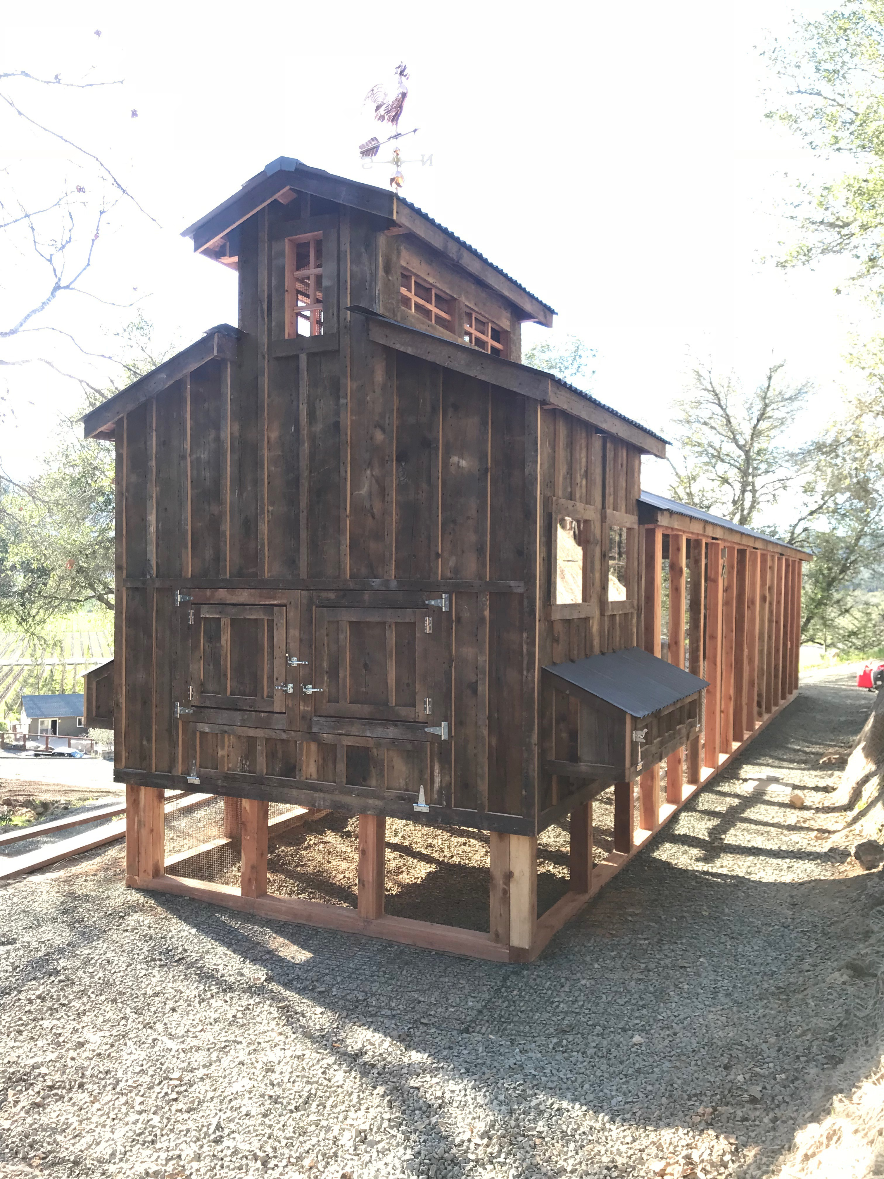 Red cedar reclaimed barn wood 40-foot coop for Davis Estates Winery in Calistoga, CA