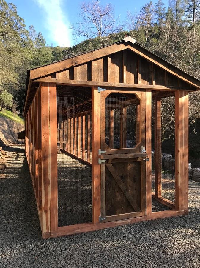 Red cedar reclaimed barn wood 40-foot coop for Davis Estates Winery in Calistoga, CA