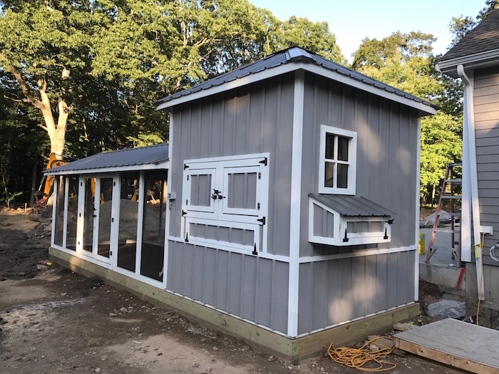 Shed style coop with built in storage in Boston, MA