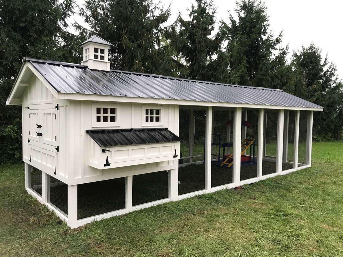 8′ x 24′ Carolina Coop with 6′ x 8′  henhouse with board & batten siding, paint job, and cupola