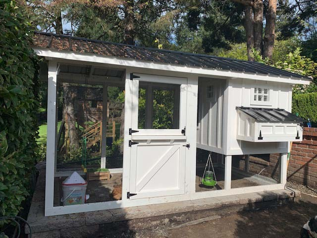 6′ x 12′ Carolina Coop with Dutch door and board and batten siding in Portland, Oregon