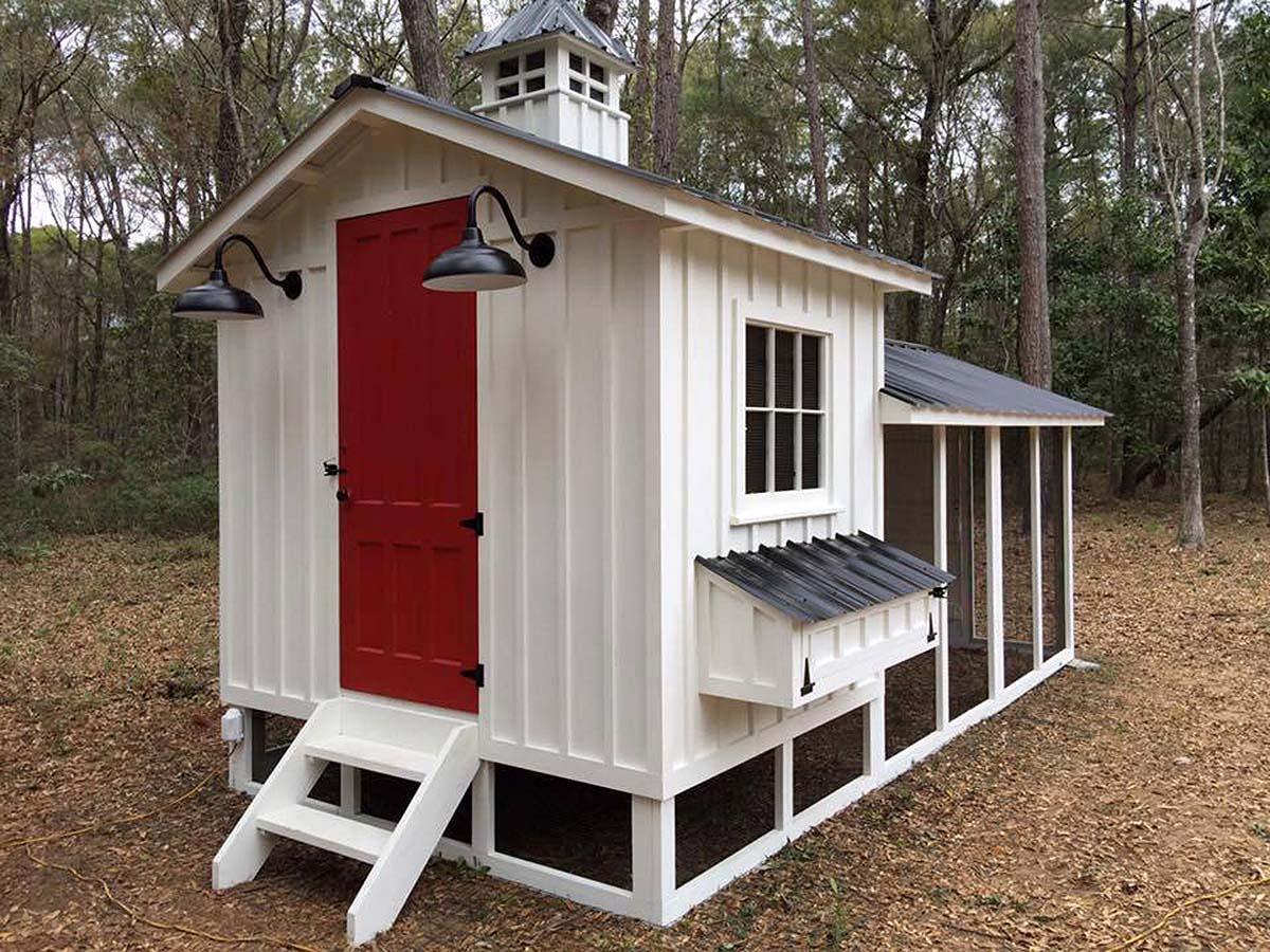 Carolina Coops Craftsman Coop with red door and split roofline in North Carolina