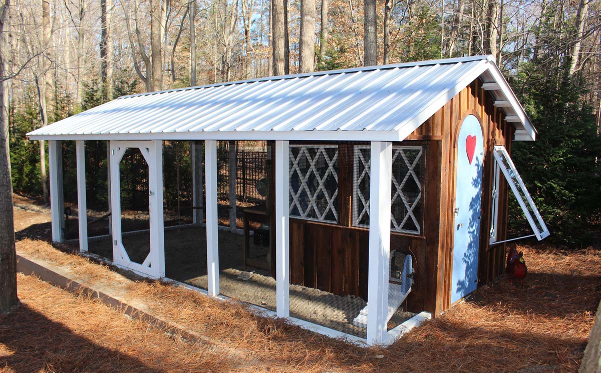 Carolina Coops Custom Coop with arched door and reclaimed barnwood in Raleigh, NC