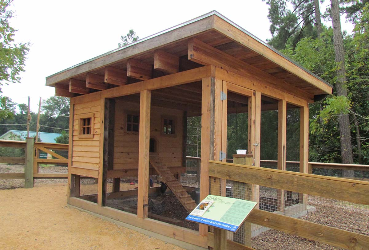 Carolina Coops custom coop with reclaimed pine for Sarah Dukes Gardens in Durham, NC