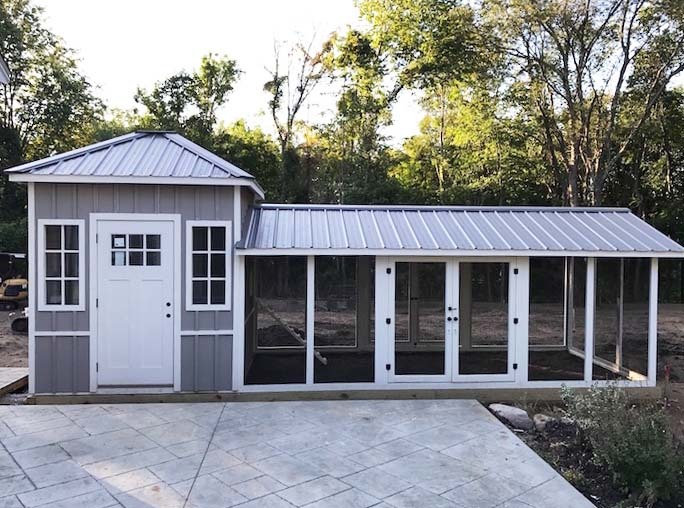 Custom shed style coop with board and batten siding in Boston, MA