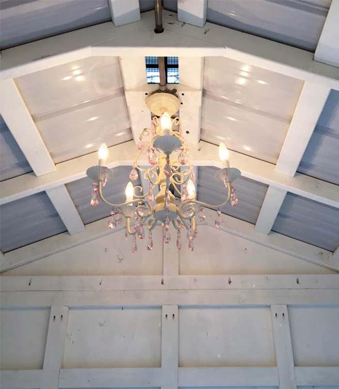 Interior lighting inside henhouse of the Craftsman Coop in North Carolina
