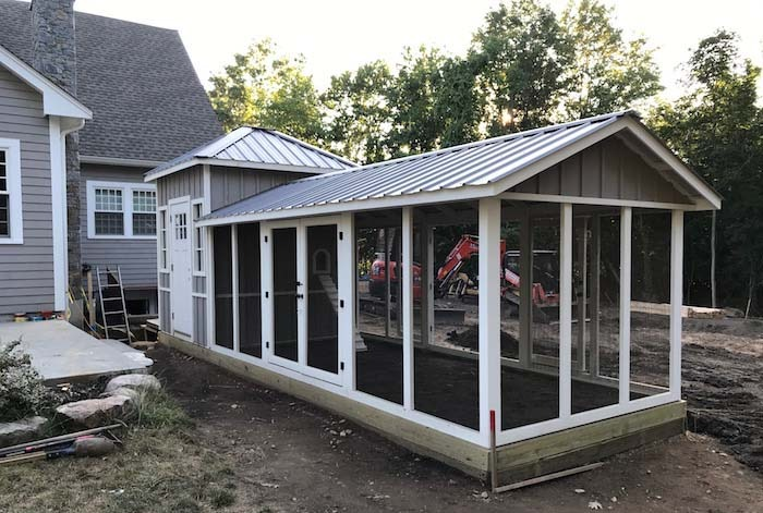 Shed style custom chicken coop with French doors in Boston, MA