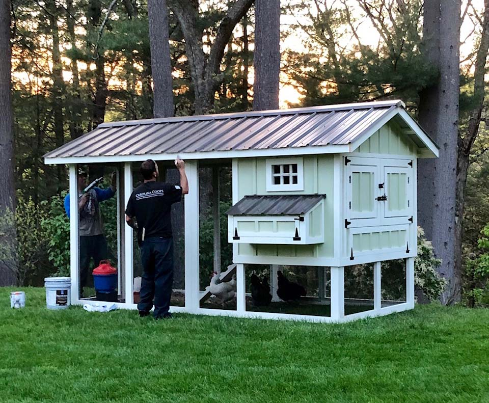 The crew puts the finishing touches on a 6′ x 12′ Carolina Coop in Concord, MA