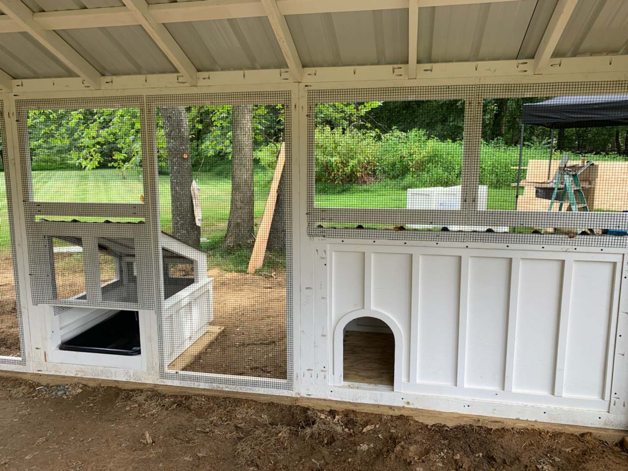 Interior shot of custom duck and chicken coop with duck dipper