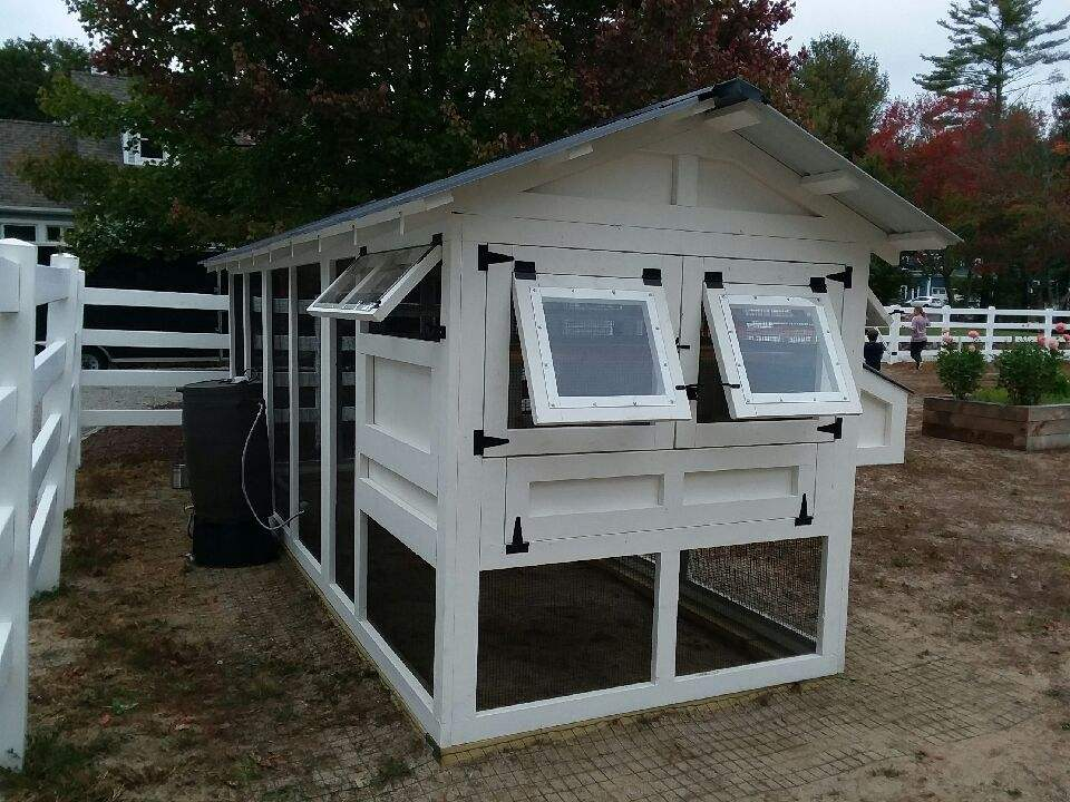 6′ x 18′ American Coop with 4'x 6′ henhouse   painted white with black hardware in Norwell, MA