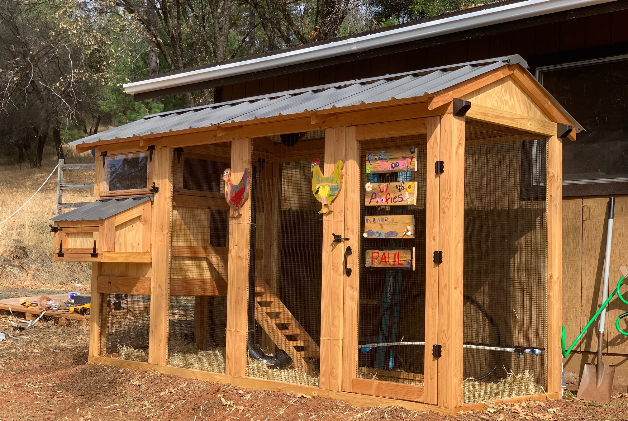 4′ x 12′ California Coop with 3′ x 4′ henhouse and dark grey roof and black hardware in California