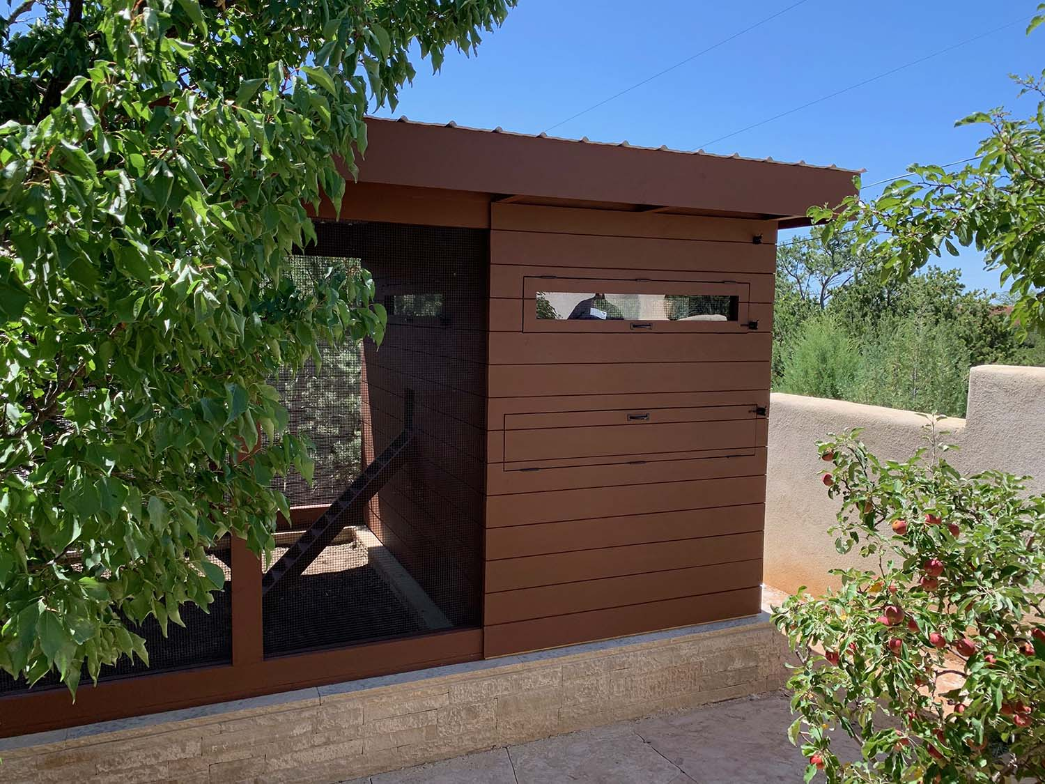 Henhouse exterior of a custom modern chicken coop with shiplap siding in Santa Fe, NM