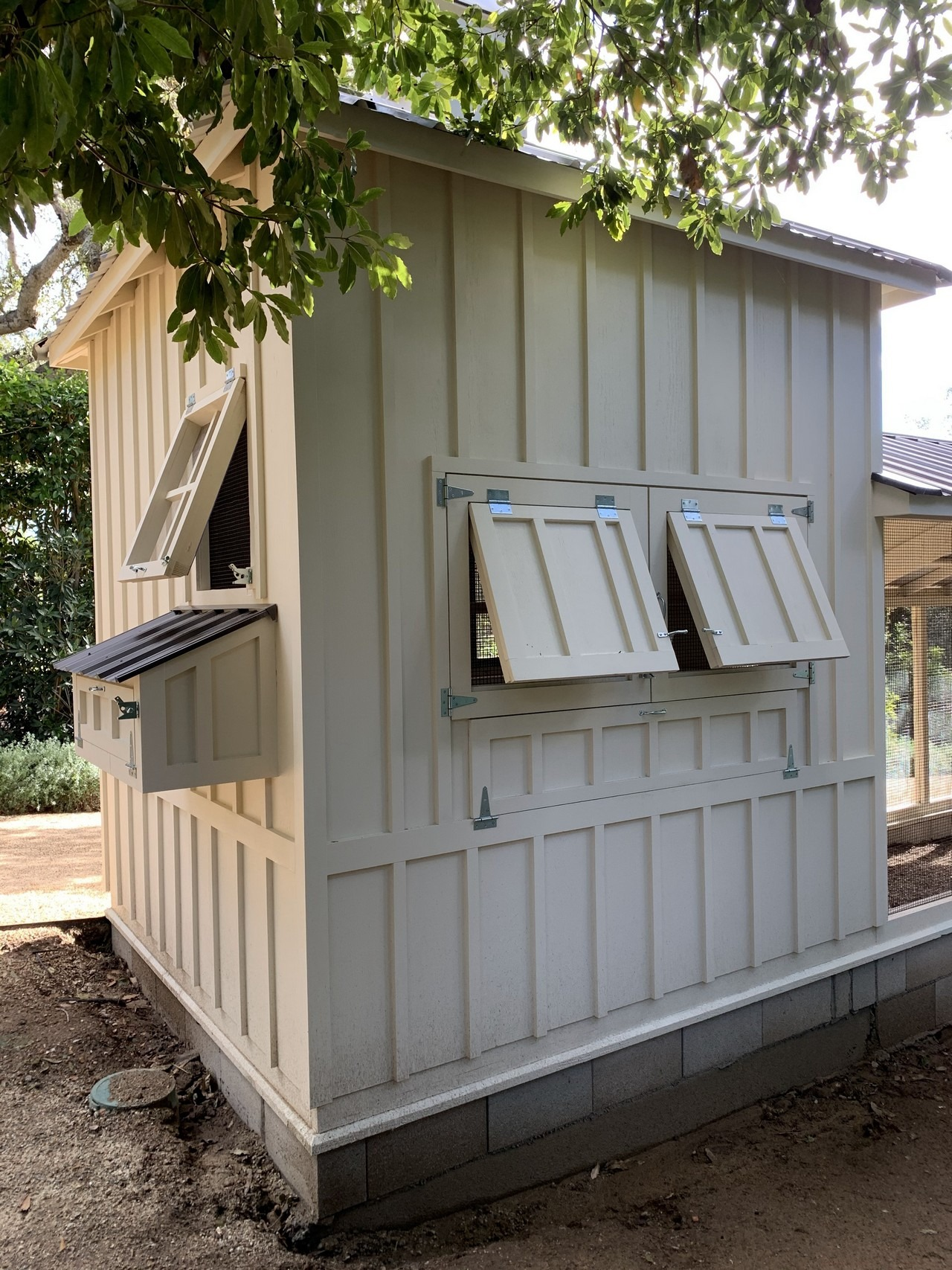 Exterior of 8'x8′ henhouse-shed combo of a Craftsman Coop in Santa Barbara CA