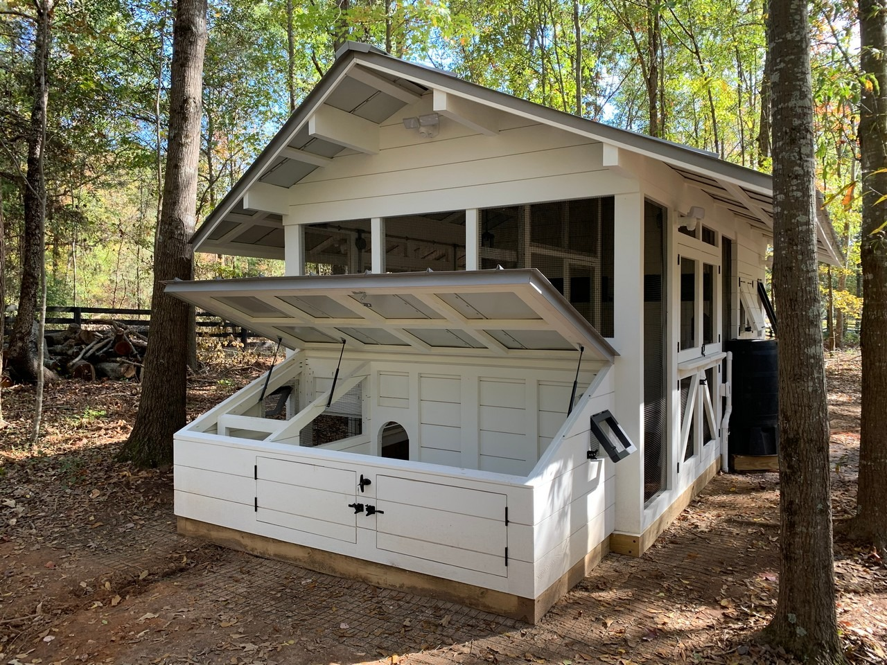 Front view of the modern farmhouse chicken and duck coop in South Carolina
