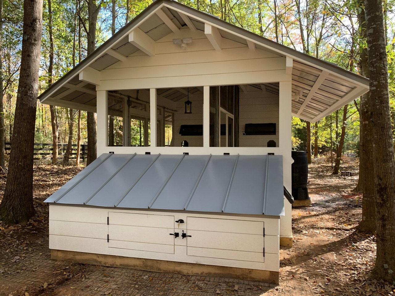 Front view of the modern farmhouse chicken coop and duck house in South Carolina