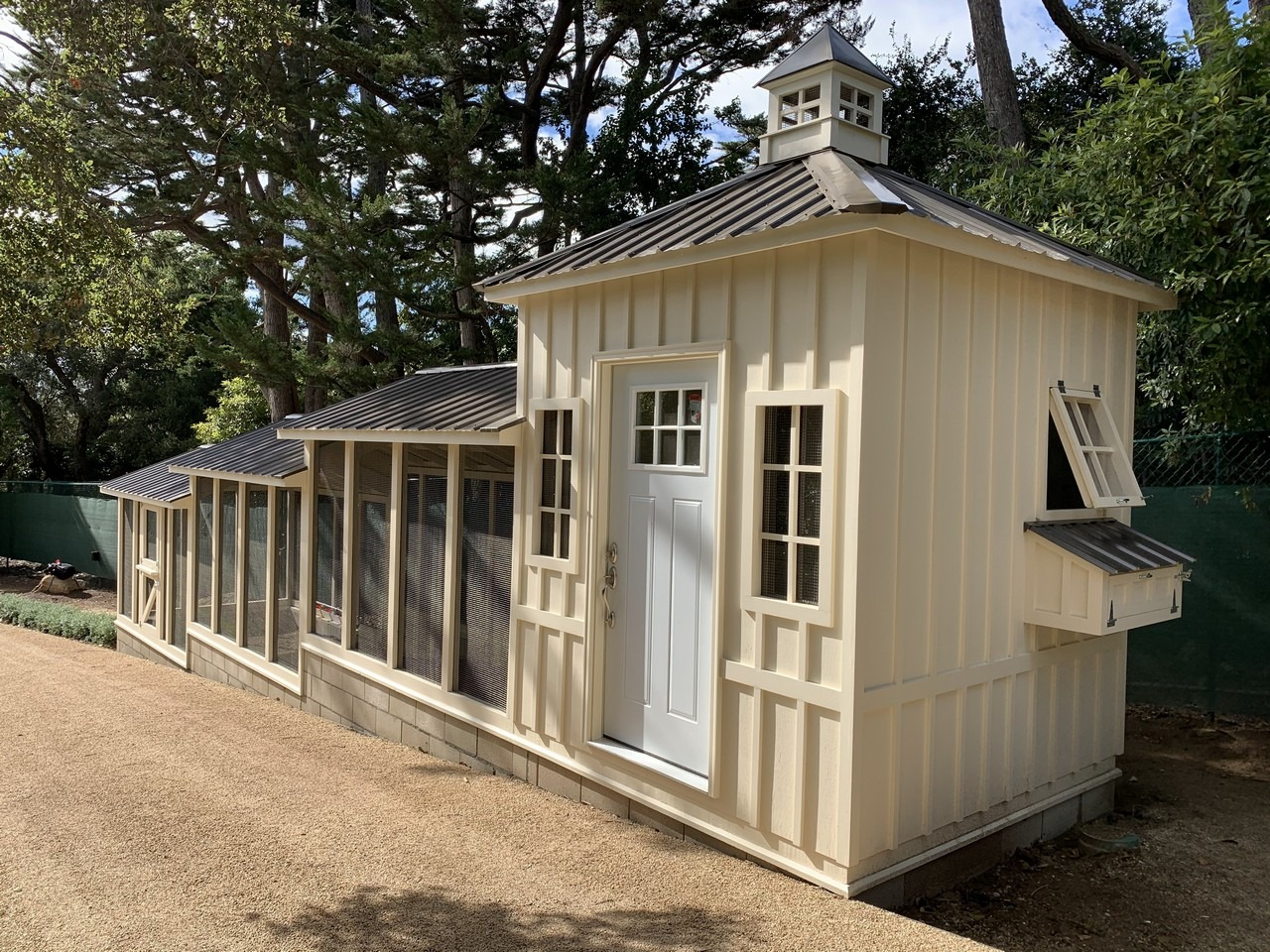 Shed-henhouse combo of a custom Craftsman Coop in Santa Barbara, CA