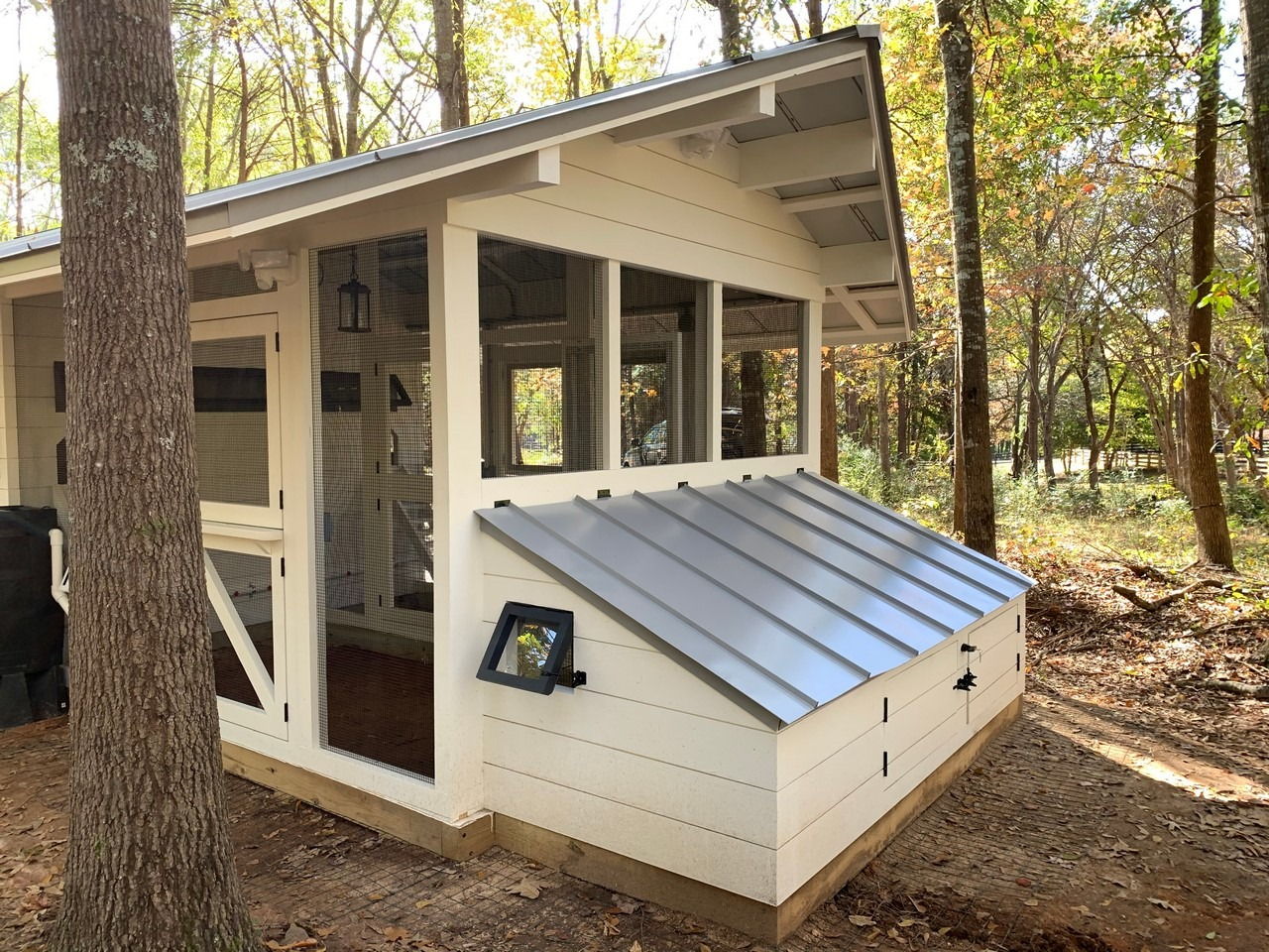 Side view of duck house of the modern farmhouse custom chicken and duck coop