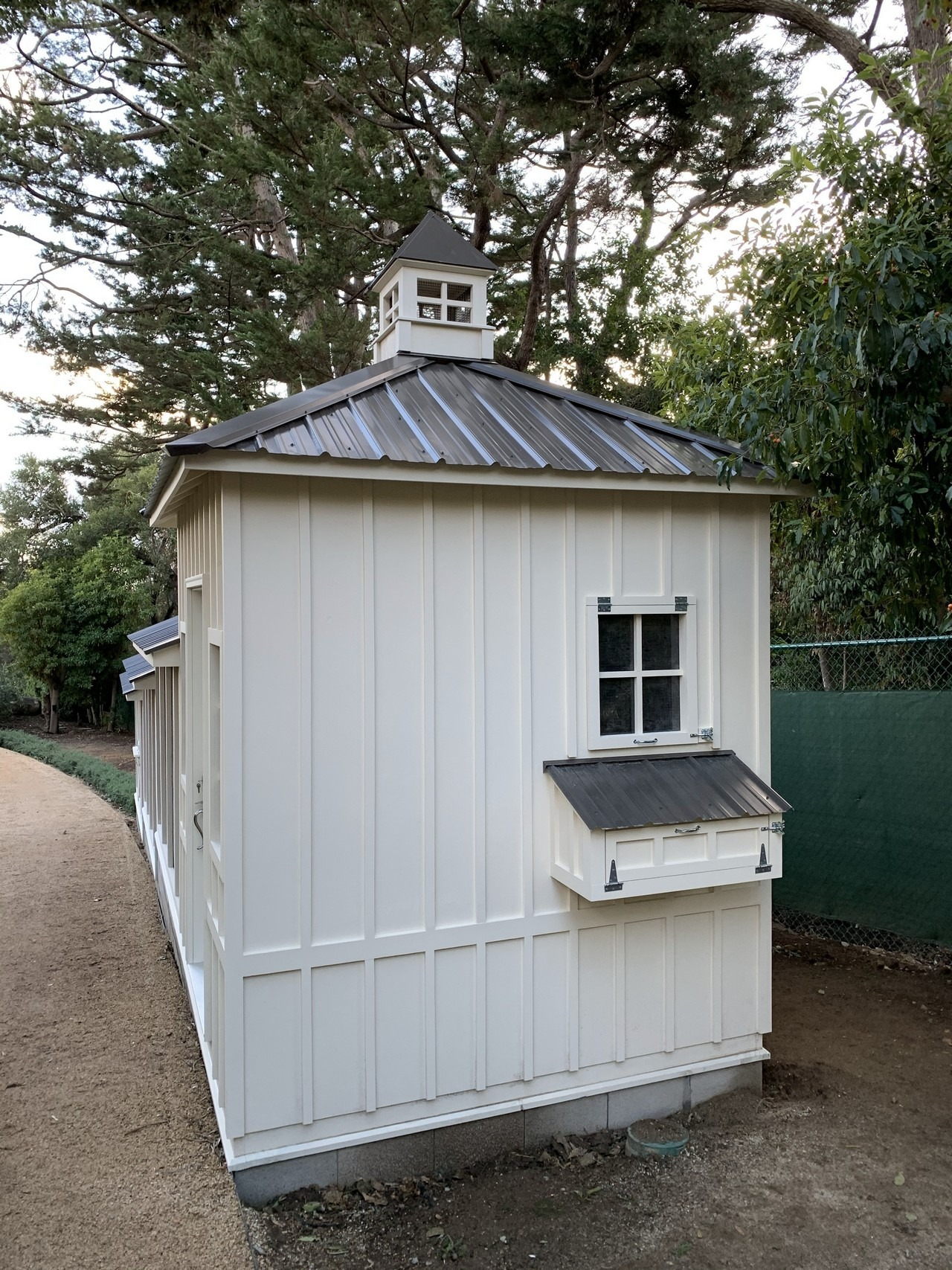 back of the shed-henhouse combo of a custom Craftsman chicken coop in Santa Barbara, CA
