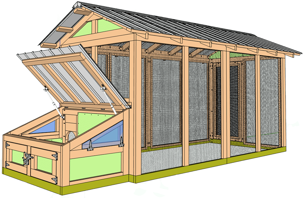American Duck Coop with duck house open view