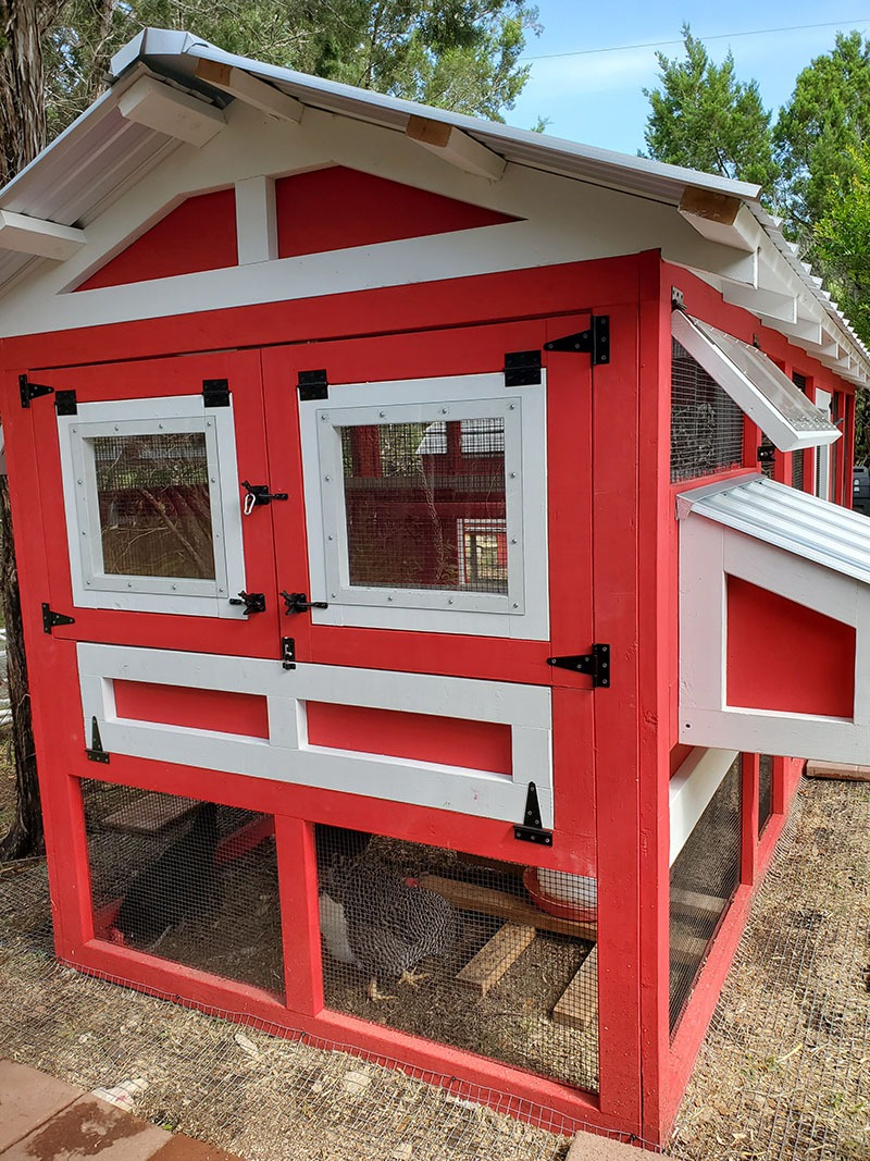 Back of 4'x6′ henhouse of a 6'x18′ American Coop painted red with white trim