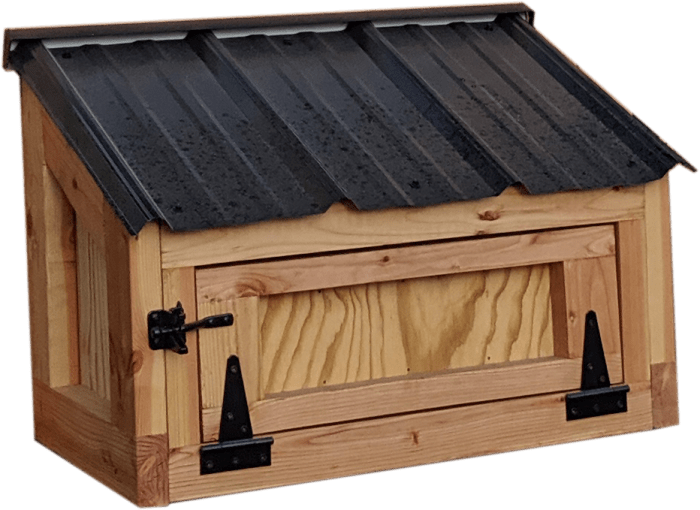 California Coop extra egg hutch with black roof and hardware