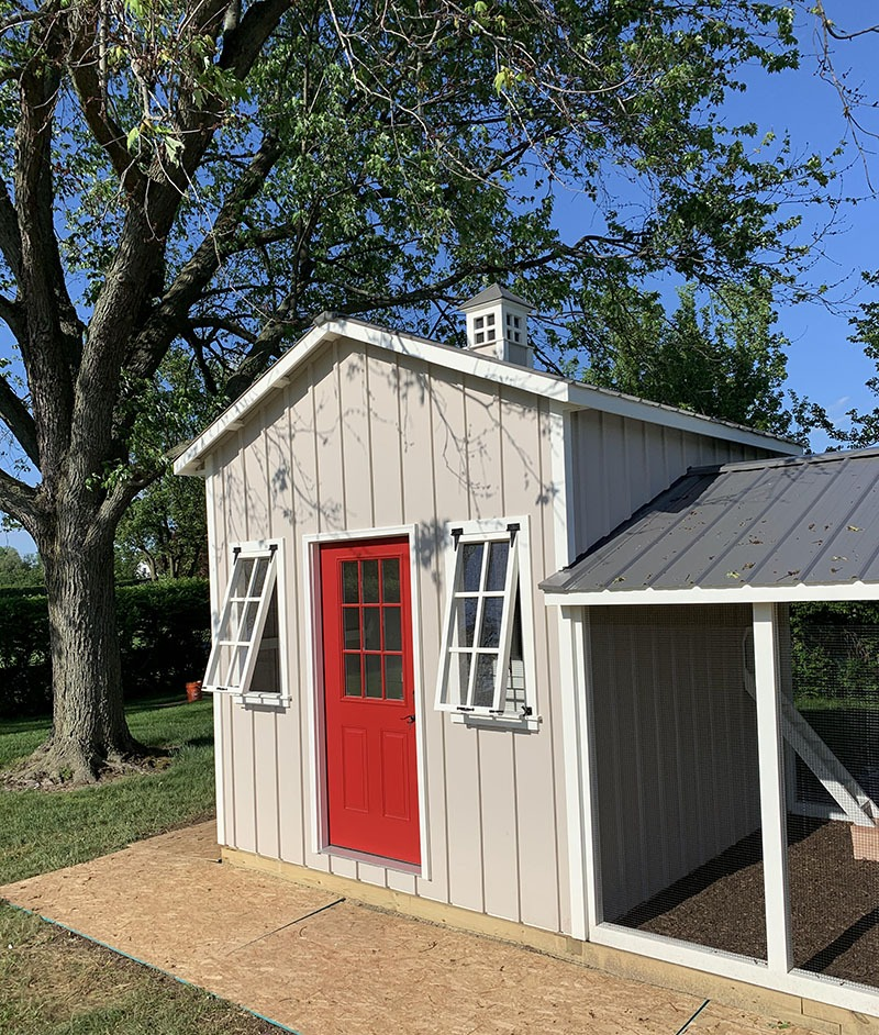 Carolina Coops Craftsman Coop in Dryden, MI with 10'x10′ henhouse-shed combo