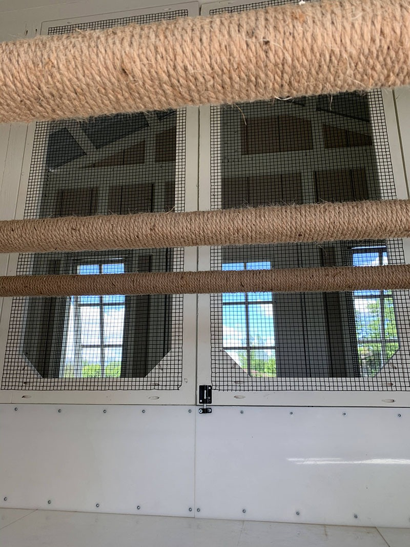 Rope wrapped roostbars in a 10'x10′ henhouse of a Craftsman Coop in MI