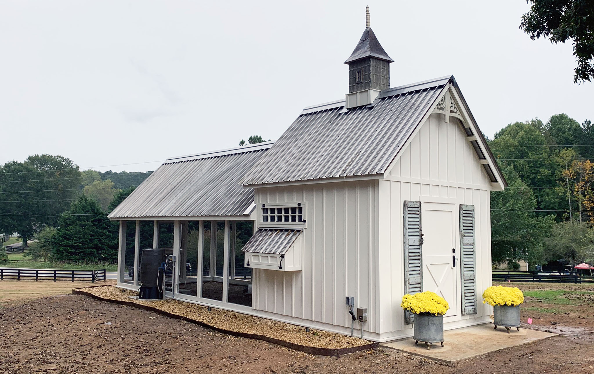 Carolina Coops 10'x30′ Custom Craftsman Coop in Georgia with cupola and shutters