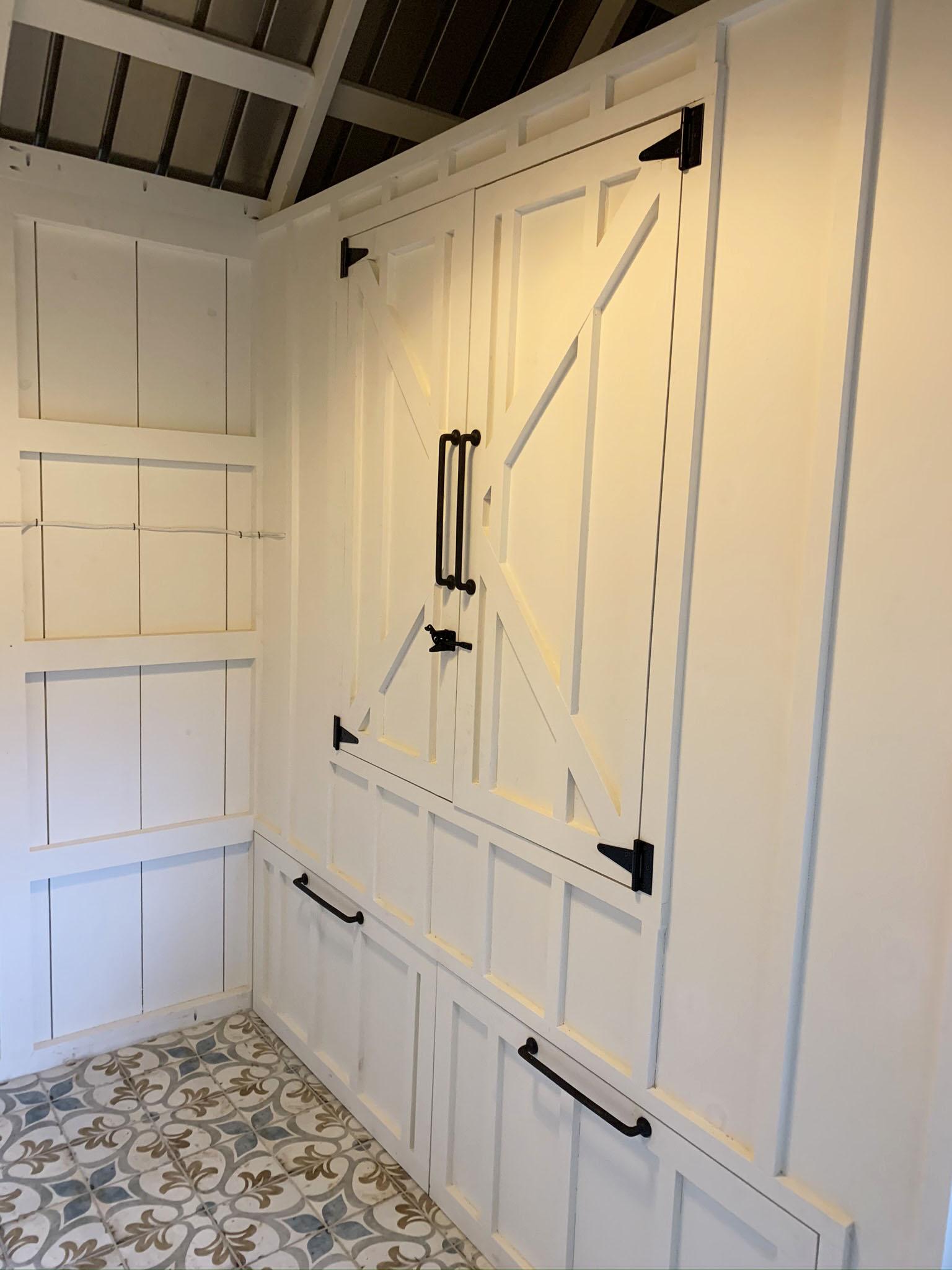 Carolina Coops- Custom Craftsman Coop in Georgia- inside shed-henhouse combo