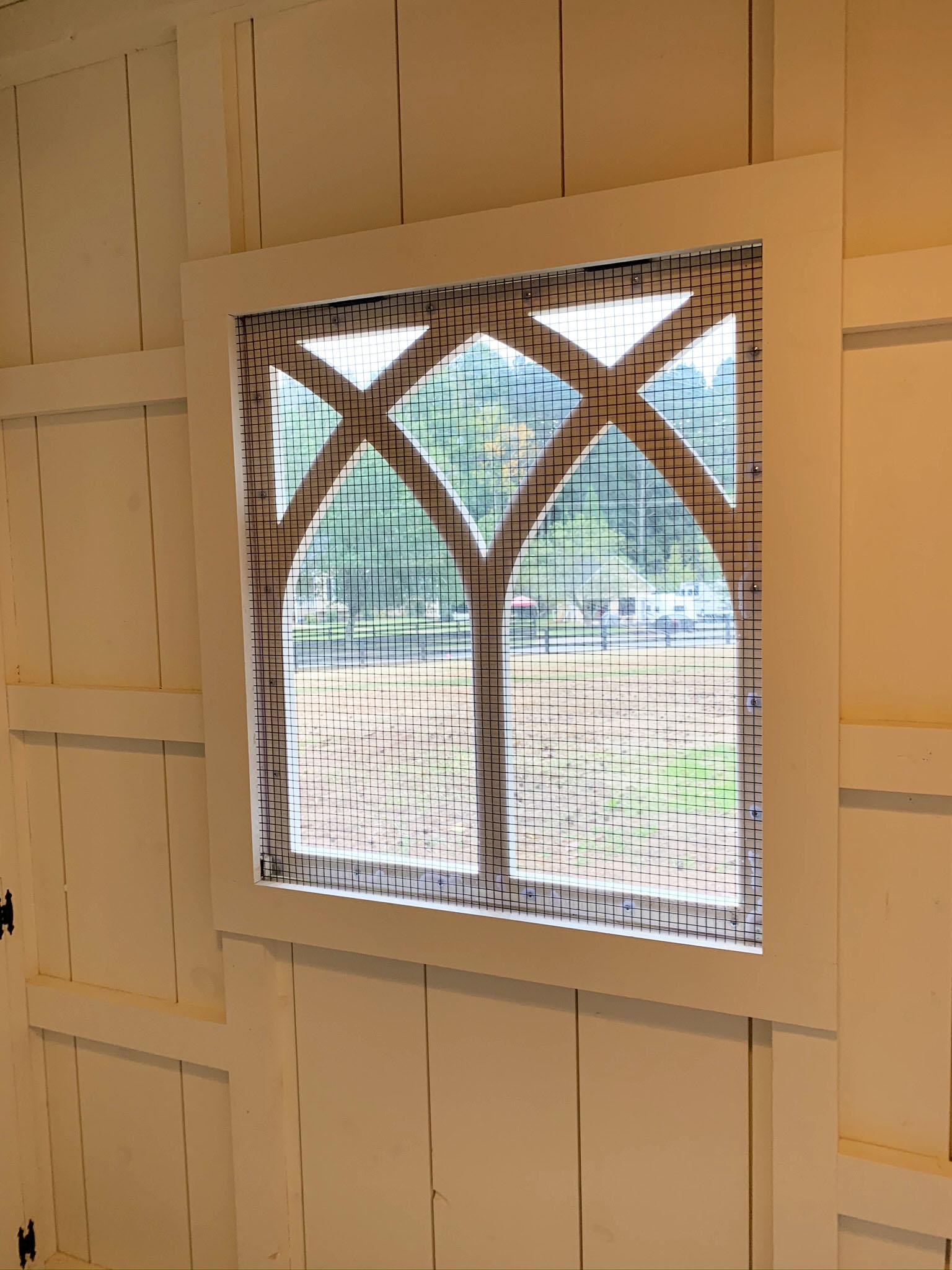 Carolina Coops- inside window detail of Custom Craftsman Coop in Georgia
