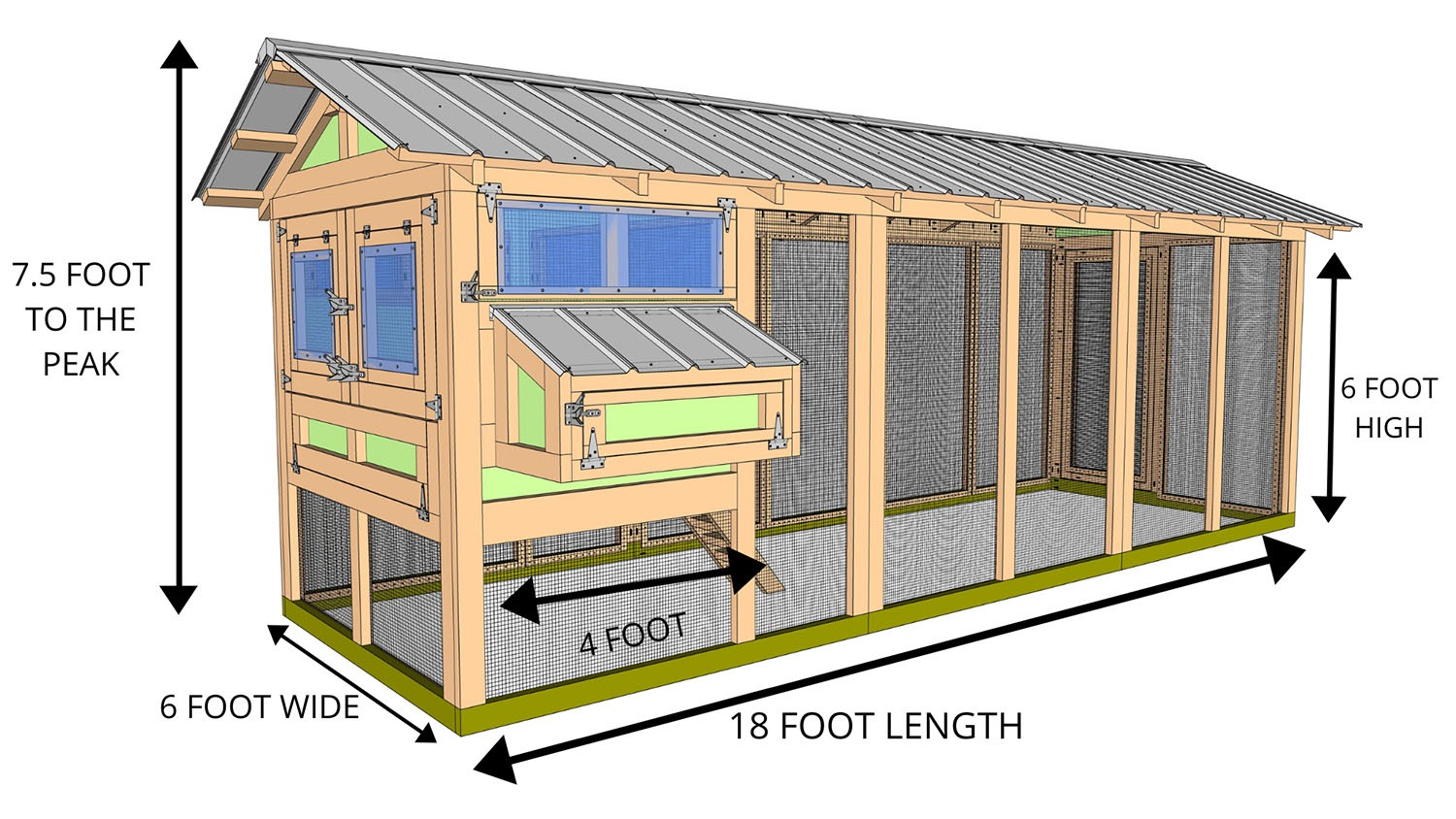 6X18 AMERICAN COOP WITH 4X6 HENHOUSE- BACK SIDE