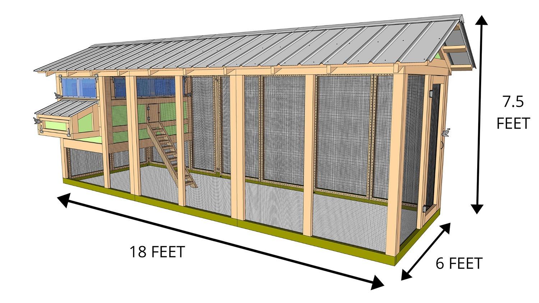 6'X18' American Coop with 4'x6' henhouse