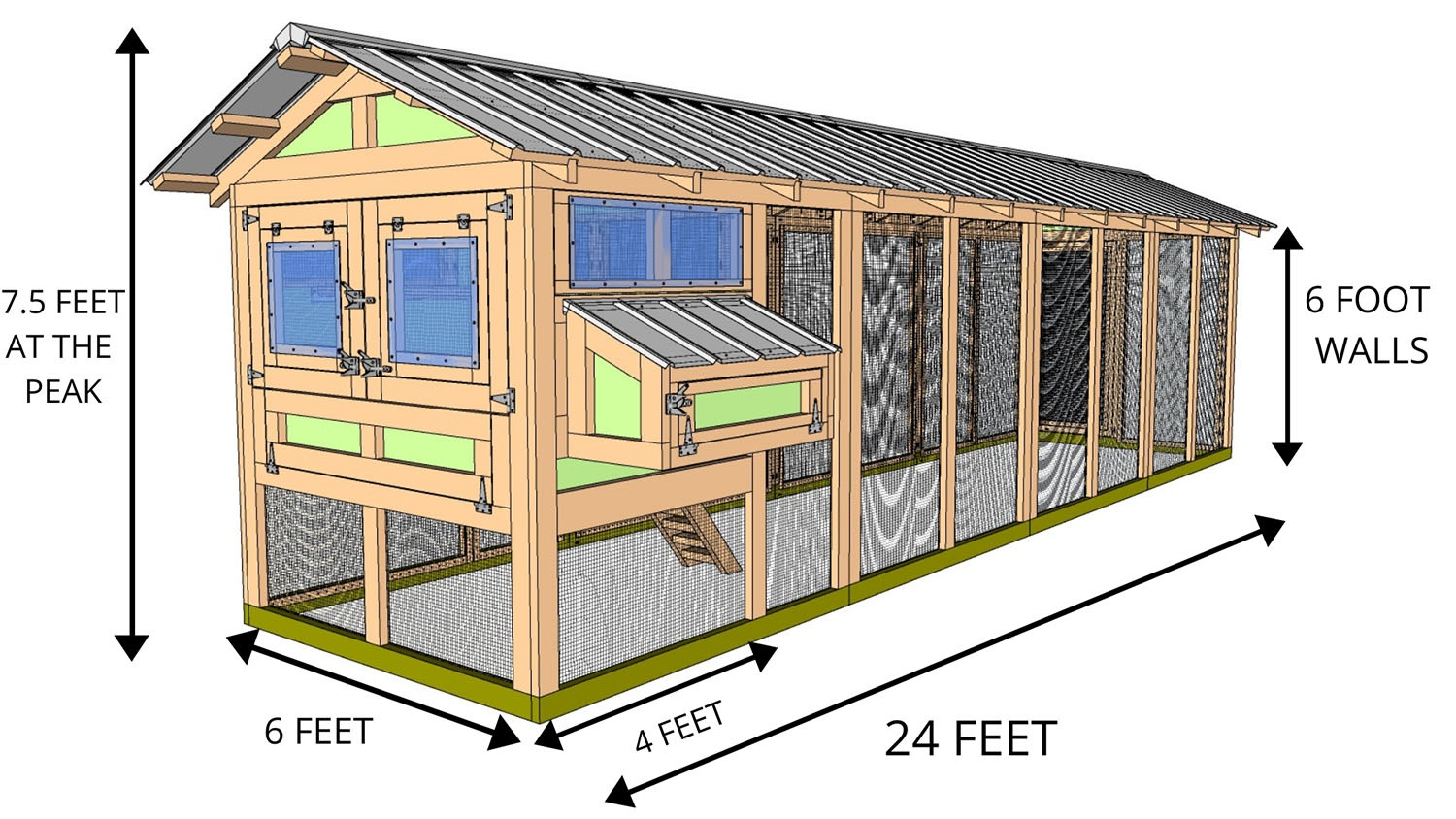6'X24' American Coop with 4'x6' henhouse back view