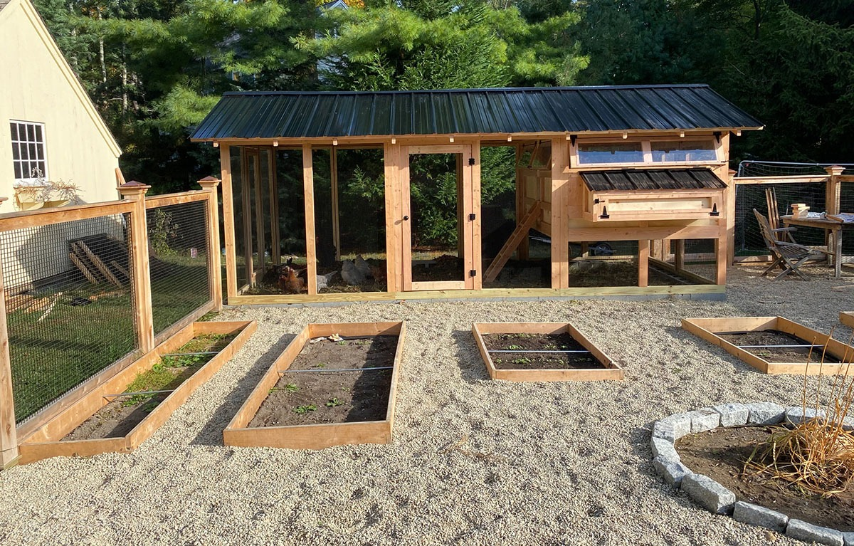 8'x18′ American Coop with 6'x8′ henhouse with black roofing and hardware