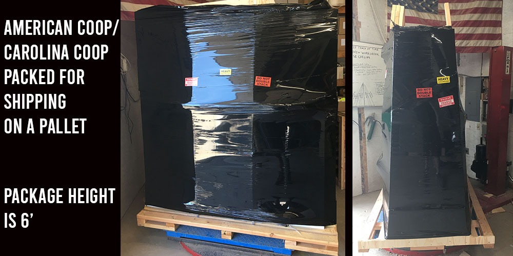 American/Carolina Coop packed and ready to ship on a pallet