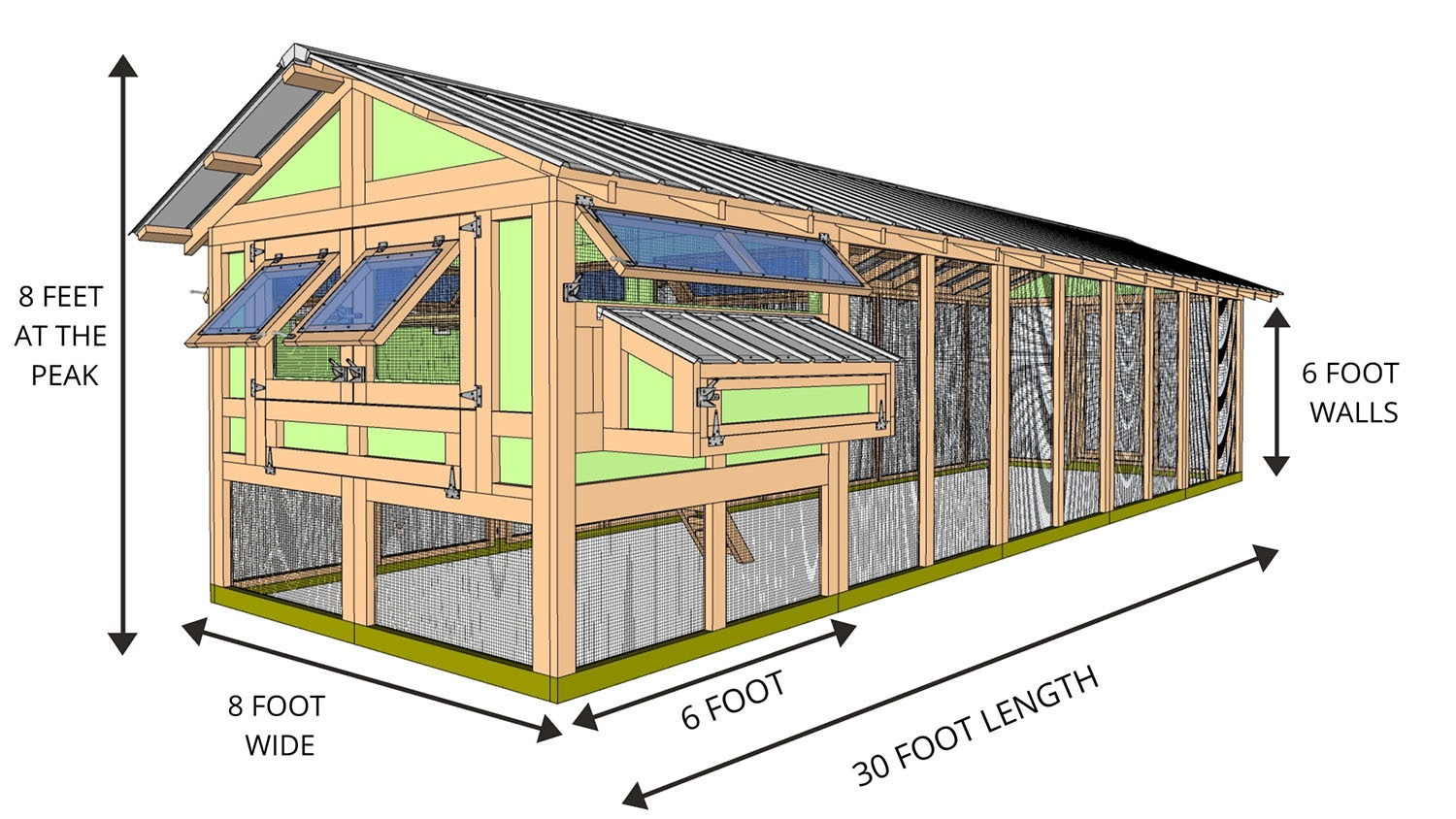 8'x30' American Coop with 6'x8' henhouse - STARTS AT $8,340