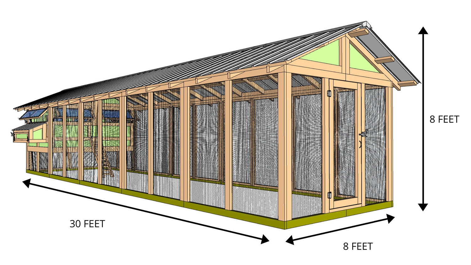 8'x30' American Coop with 6'x8' henhouse - STARTS AT $9,000