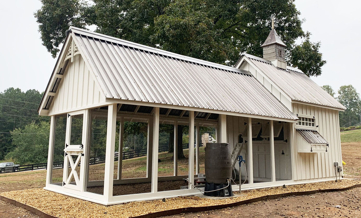 10'x30′ Custom Gothic style Craftsman Coop in Georgia with standing seam metal roof