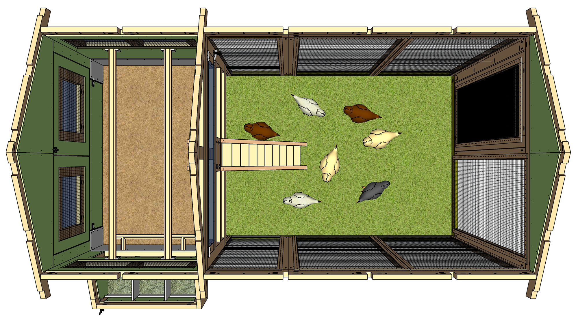 Overhead view shows 7 chickens in the run of a 6'x12' American Coop
