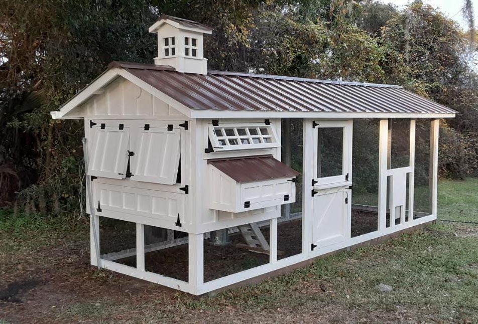 6×18 Carolina Coop with cupola, Dutch door, and chicken run door in Ormond Beach, Fl