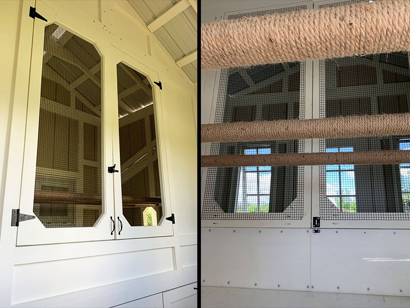 Inside the henhouse-storage area of a 10'x40' Craftsman Coop in Michigan