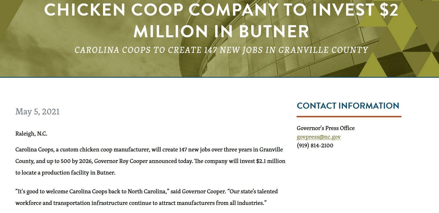 Press release Carolina Coops in Creedmoor NC