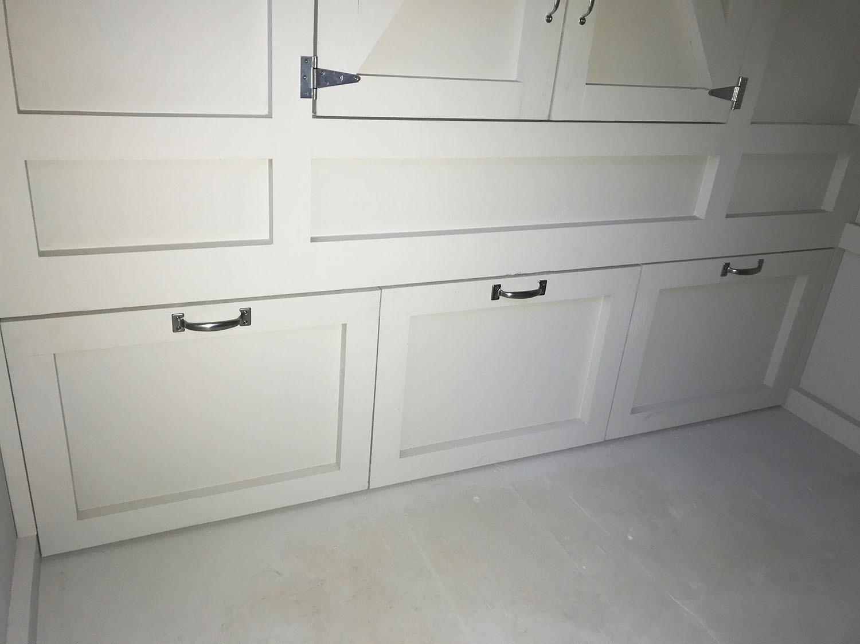 Inside storage on the 8'x24′ Craftsman Coop in Malibu, Ca