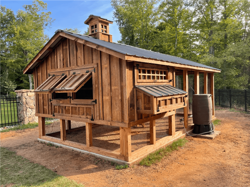 10'x18' Carolina Coop with reclaimed barnwood siding